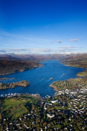 aerial shot of windermere