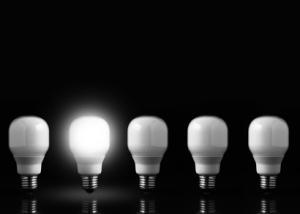 Five light bulbs in line