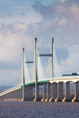Centre span of the new Severn Bridge , UK