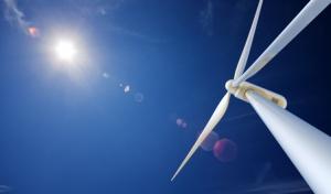 Wind Turbine and sun from below