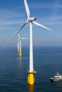 Boat in offshore windfarm