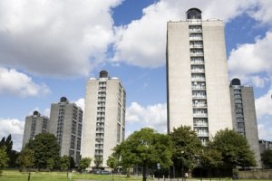 Block towers in Kennogton Park, London.