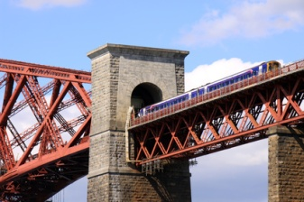 Train entering a tunnel, Forth Rail Bridge, Scotland