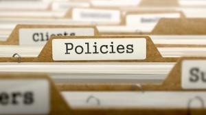 Policies Concept. Word on Folder Register of Card Index. Selective Focus.