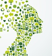Ecology app icons splash Woman head