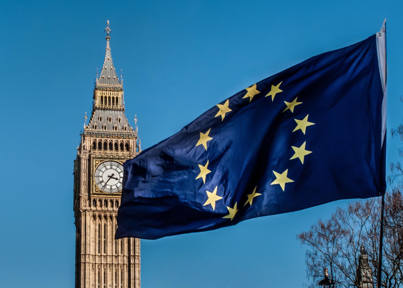 European Union flag in front of Big Ben, Brexit EU