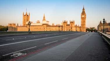 Early morning London:  Houses of Parliament, Westminster Bridge
