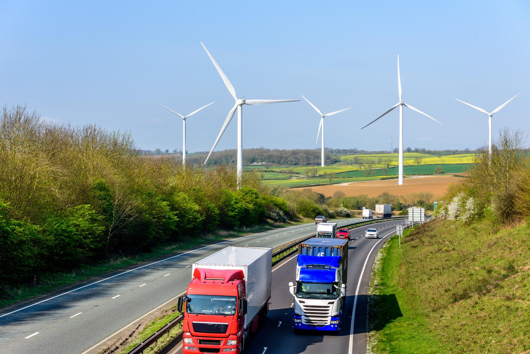 Day view UK Motorway Road Wind Turbines
