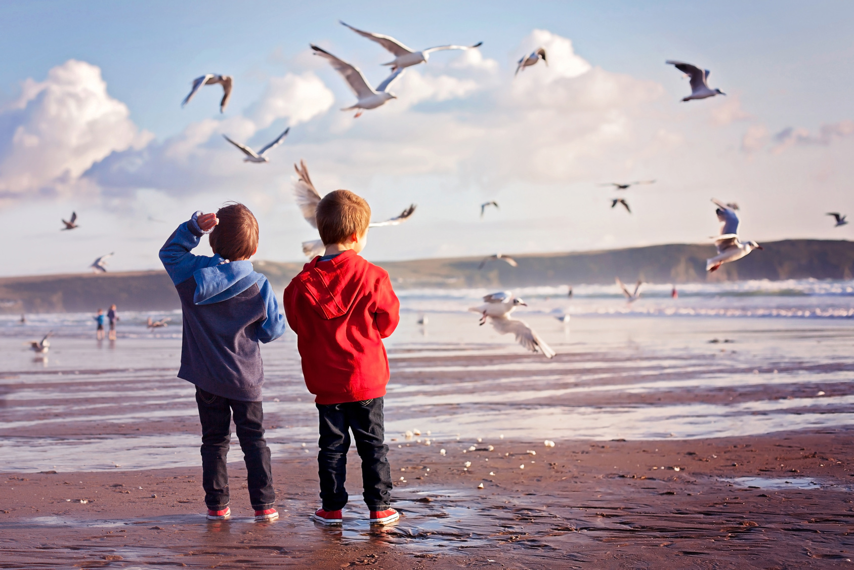 Two adorable kids, feeding the seagulls on the beach