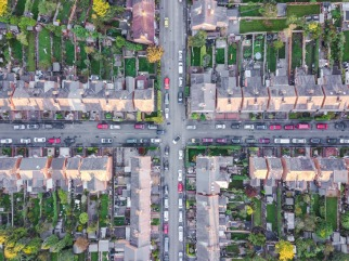 Aerial view of traditional housing suburbs cross roads in Englan